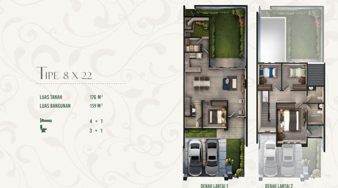 Denah Rumah Tipe Wanayasa Cluster Anapuri Podomoro Park Buah Batu Bandung